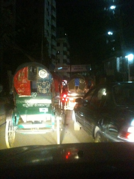 Rickshaw Road at night.