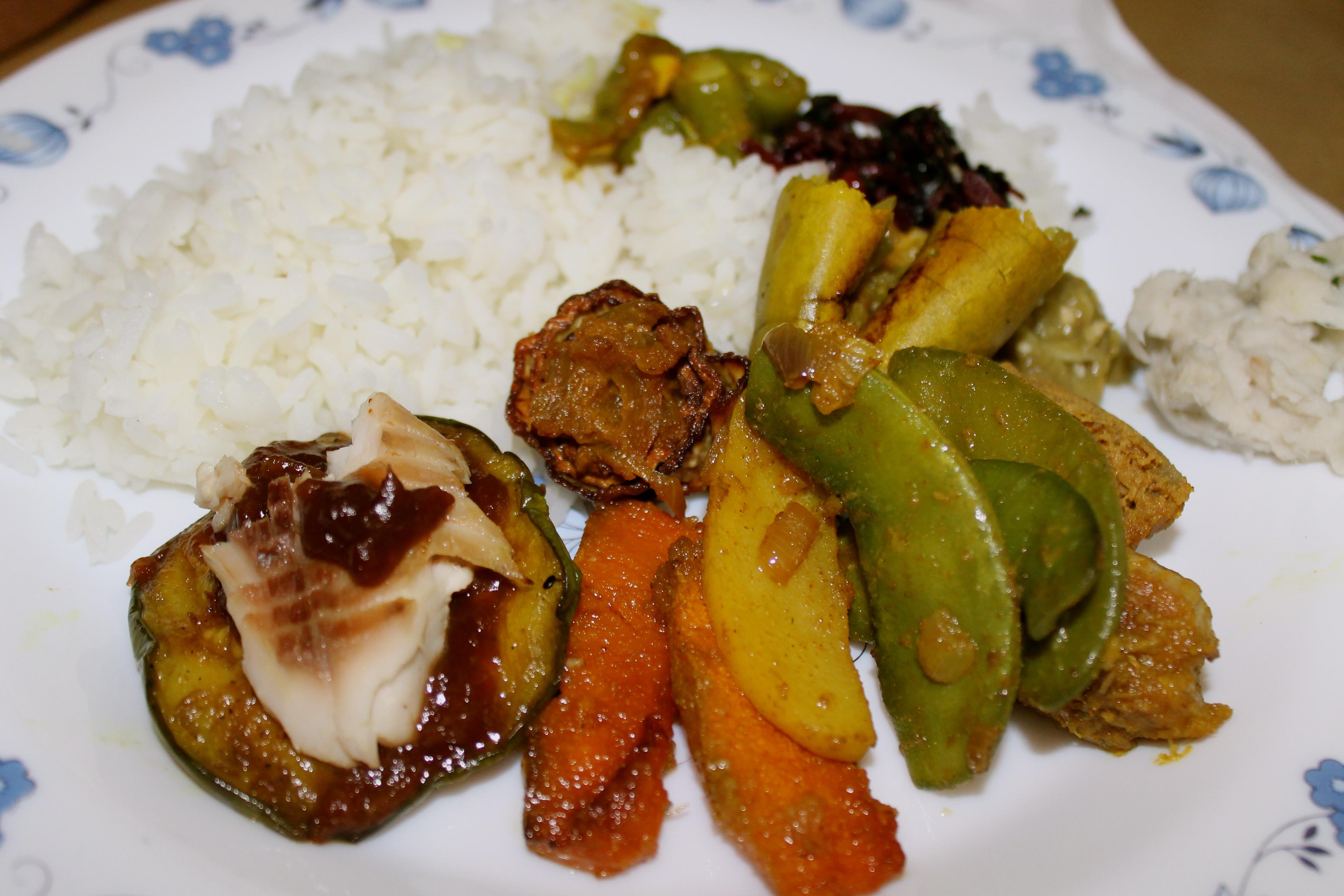 Eggplant, fish, squash, potato, taro root mash, gourd, peas, red ...