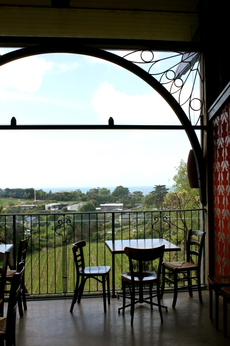 The large windows of the restaurant.
