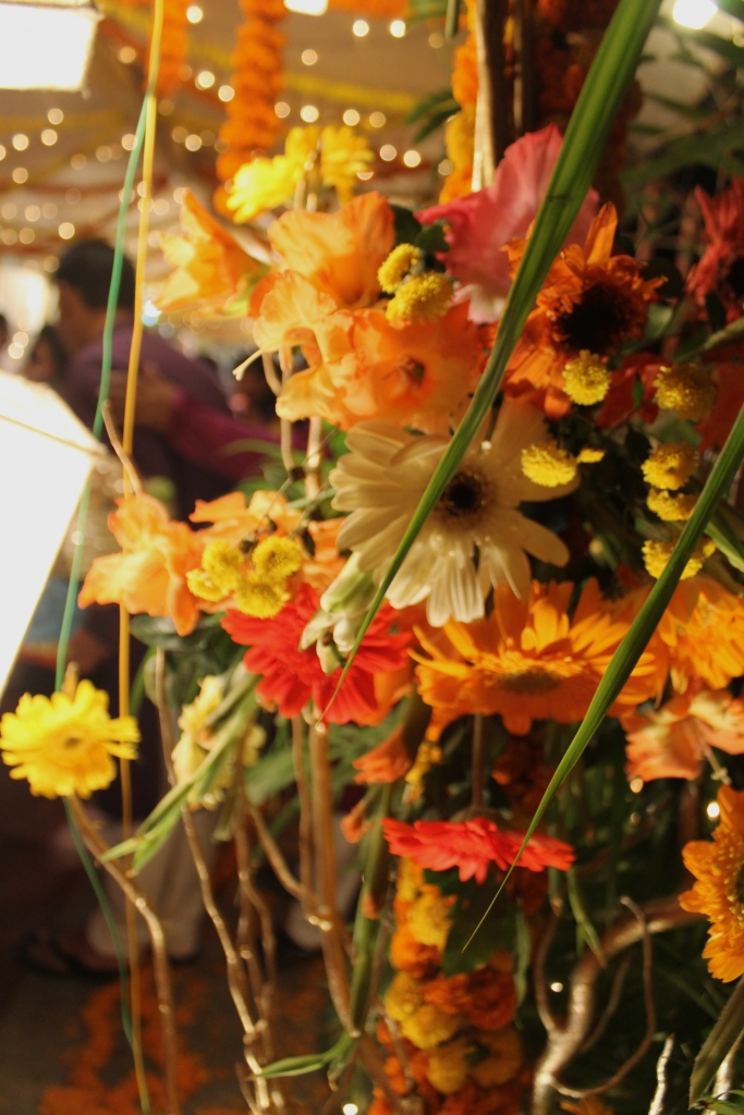 Flowers decorate the entrance to the holud venue.