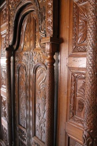Carved wooden doors.