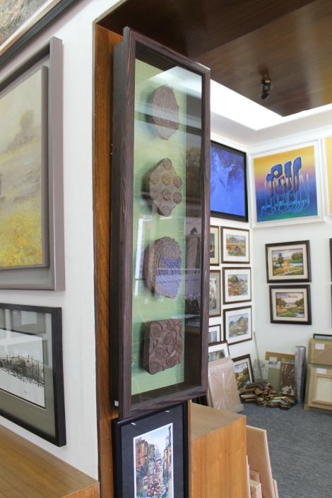 A framed box with four block prints on sale at Cezanne Gallery in the UAE Mall in Gulshan.