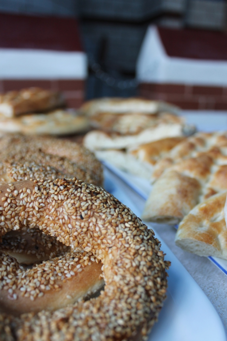 Istanbul restaurant bakes their own bread including this round bread called a simit.