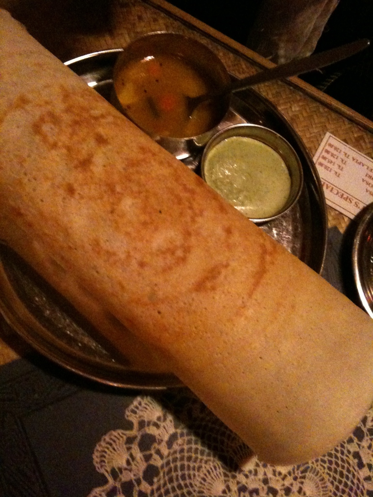 A large crepe called a dhosa.