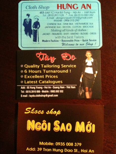 The business cards of the two tailors and show shop that I used.