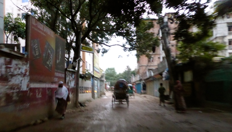 "This is ""Rickshaw Road"" with no traffic. We went fast enough to blur the photo."