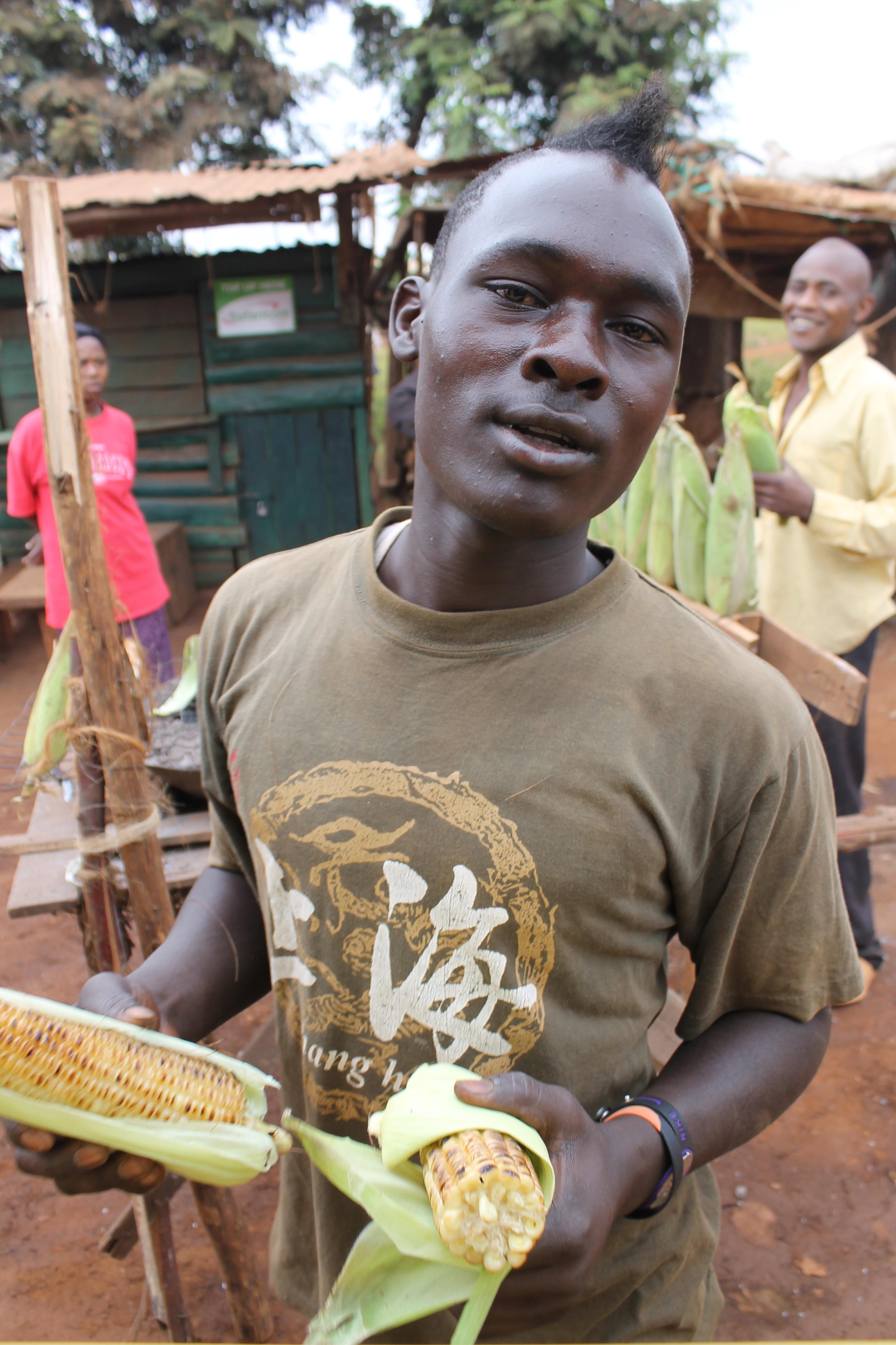 Corn vendor in Kenya.