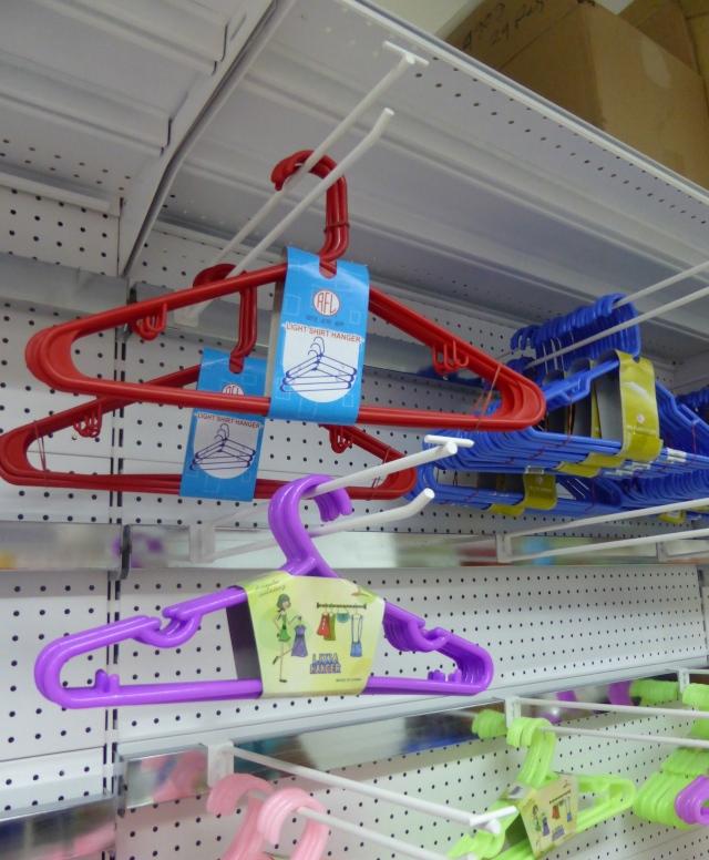 Plastic hangers and plastic buckets, etc.