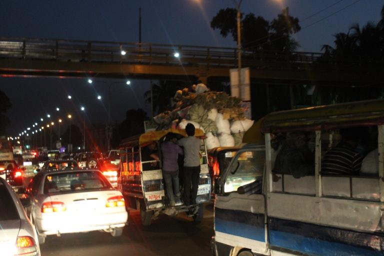 Typical traffic in Dhaka.