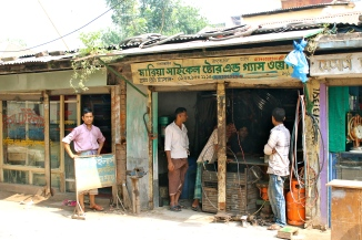 The rickshaw shop.