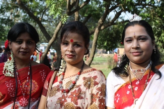 Wearing red for Bengali New Year.