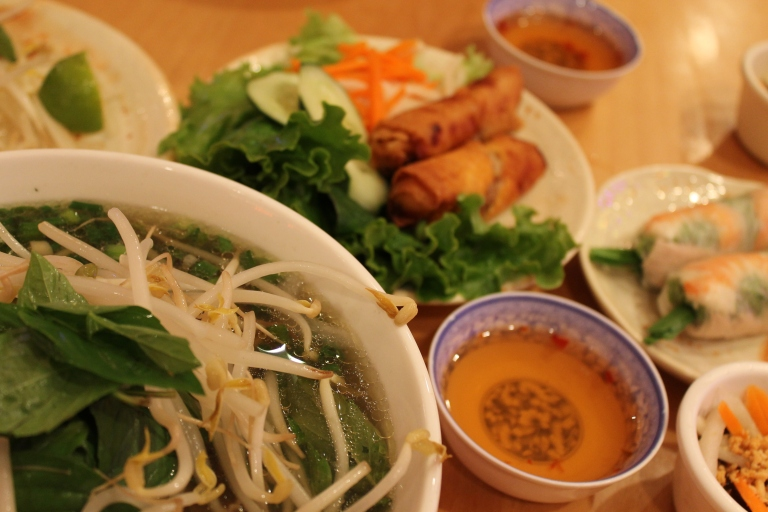 Vietnamese pho soup, fried rolls, and summer rolls.