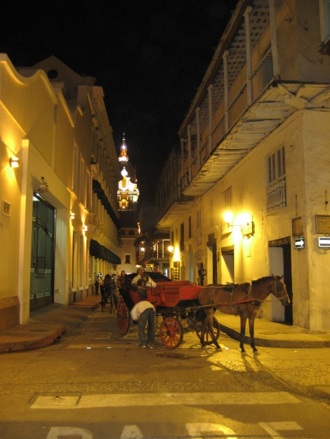 Night in the old city of Cartagena with touristy horse and carriage ride.