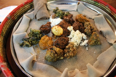 A traditional Ethiopian meal.