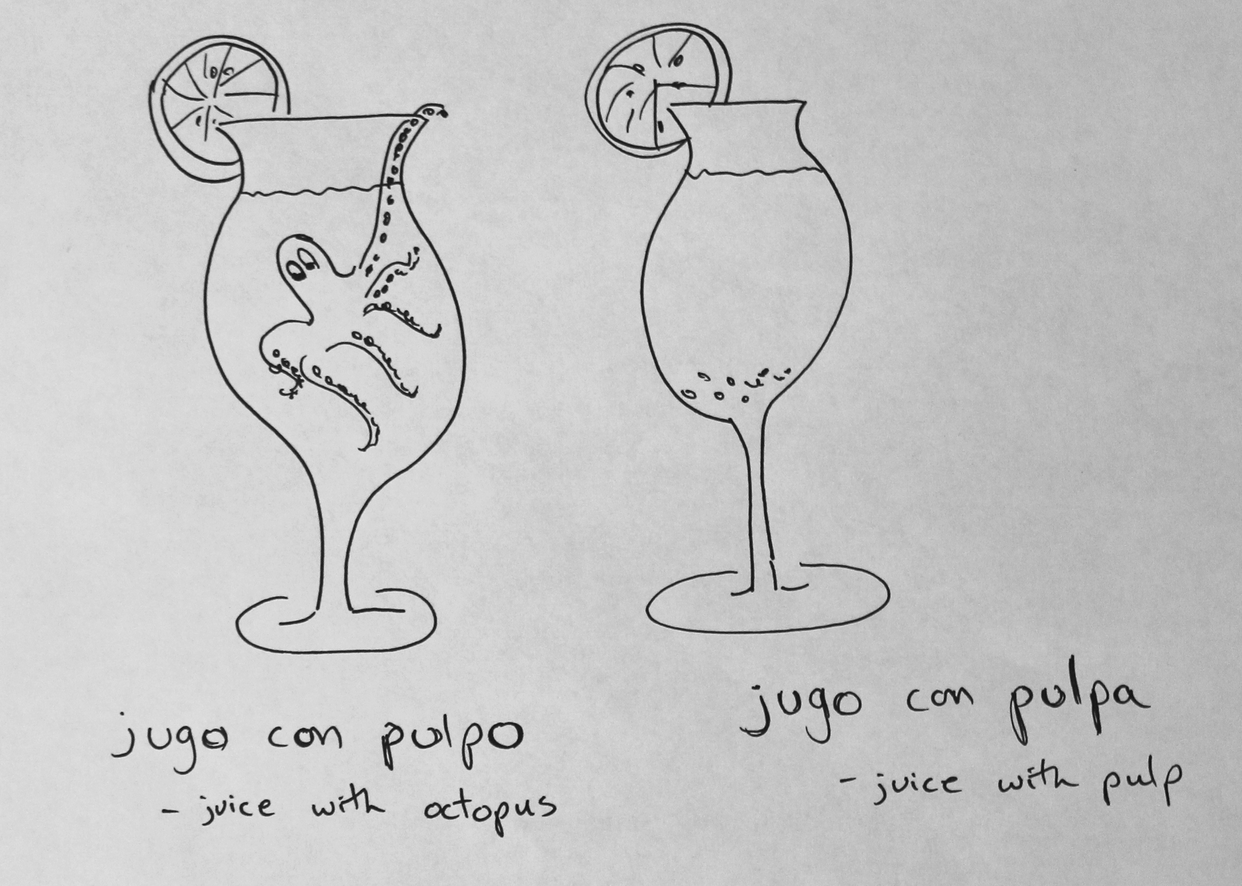 A glass of juice with squid, por favor.