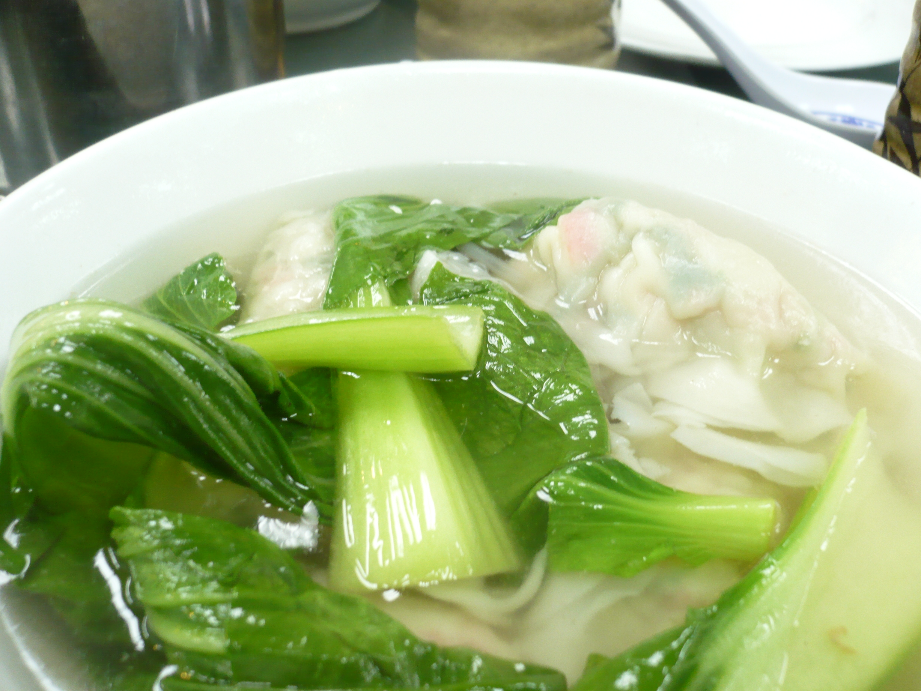 Seafood dumpling soup in Chinatown, NYC.
