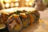 "The ""Inca roll"" with fried fish filet."