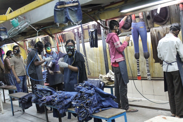 Denim being processed in Bangladesh.