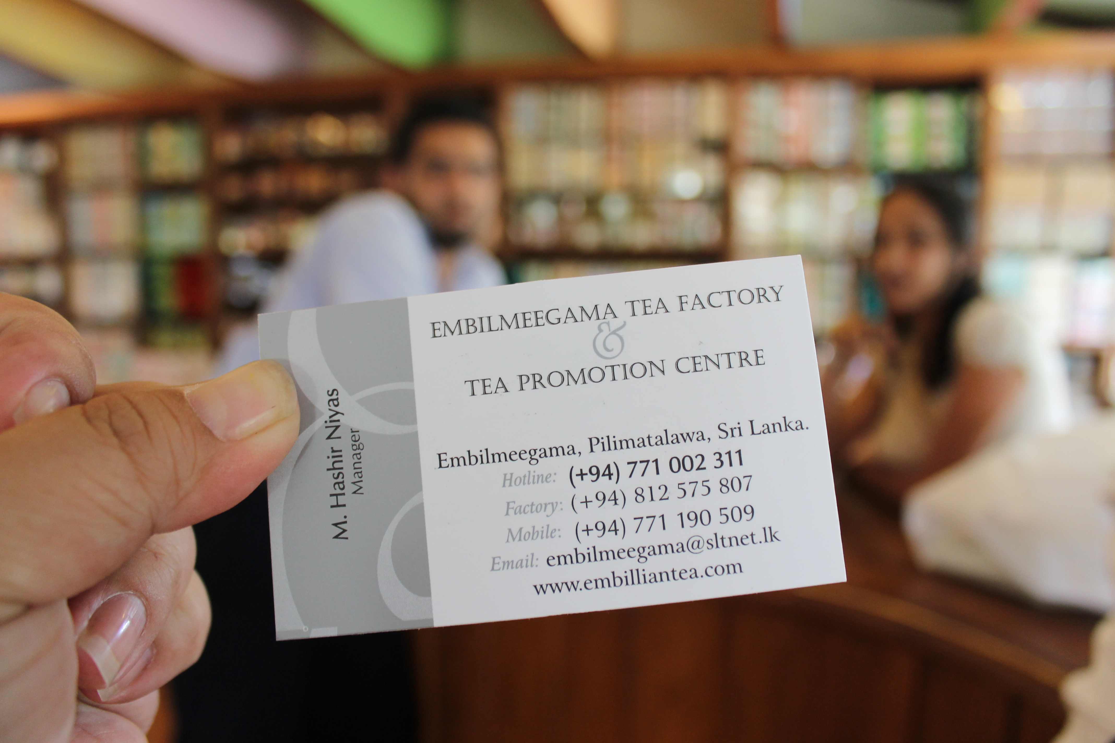 The tea shop business card.