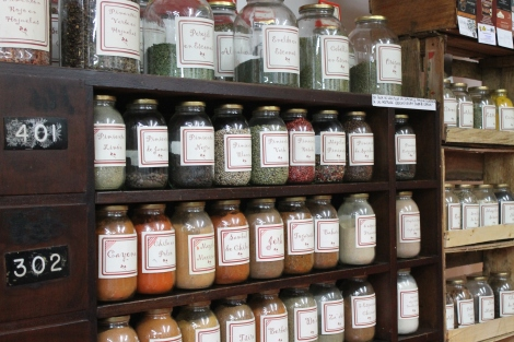 The world's spices at the spice shop in the fruit and vegetable market.