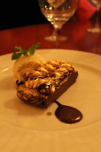 Gilded chocolate brownie a la mode.