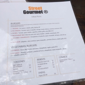 The short menu at Street Gourmet.