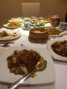 The spread of Chinese food.