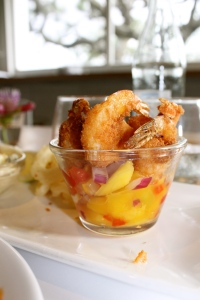 The shrimp with mango salsa.