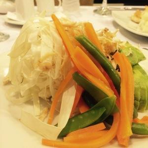A chonta, palm strips, salad.