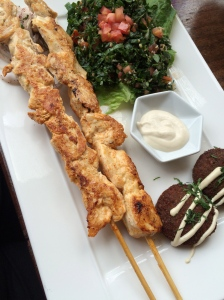 Chicken on a stick, tabouleh salad, and falafel at Beirut.
